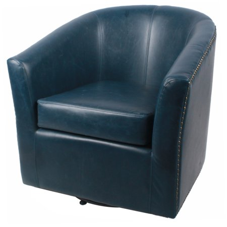(Ernest Bonded Leather Swivel Chair, Vintage Blue)