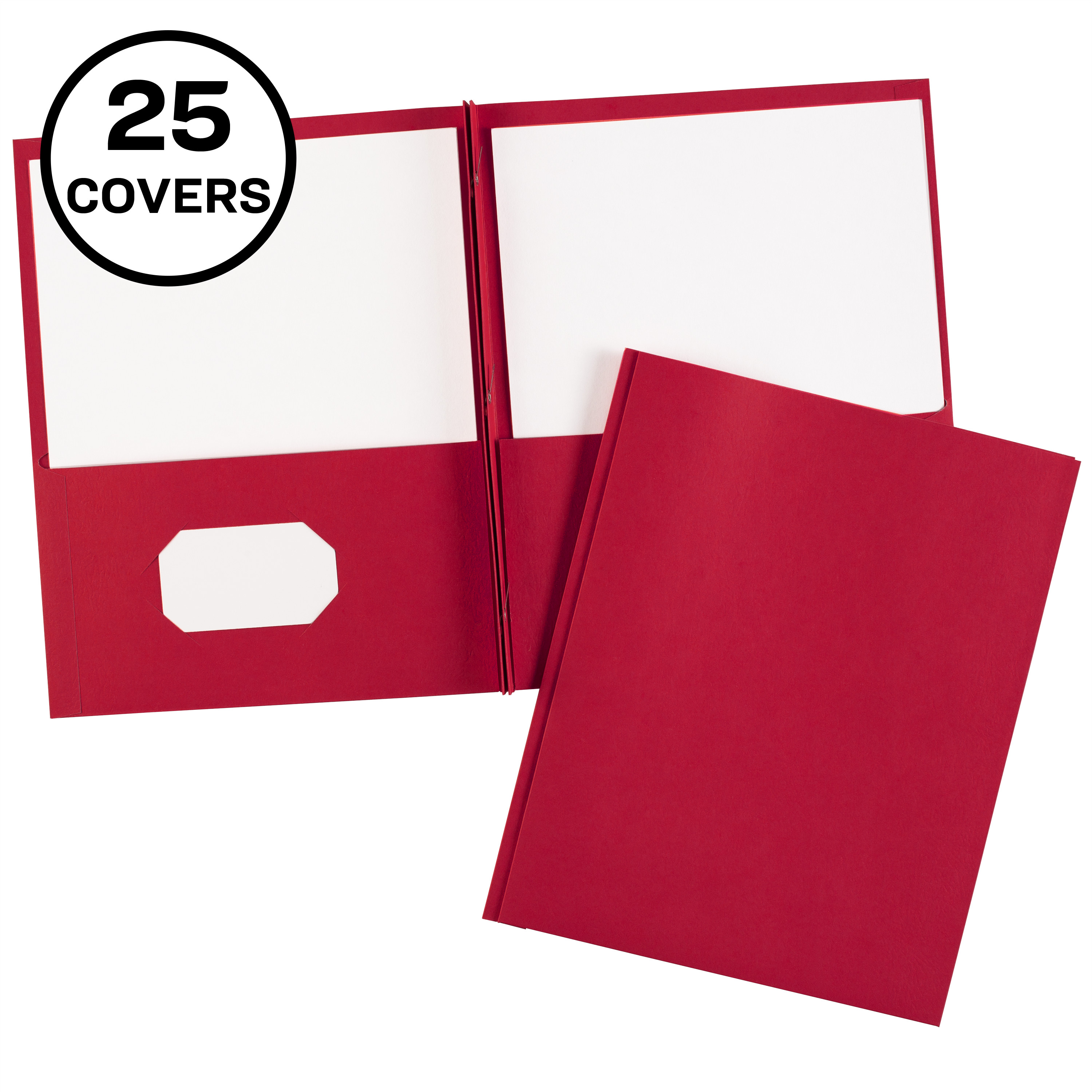 Two Pocket Folders with 3 Prong Fasteners, 25 Red Folders ...