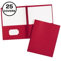 Two Pocket Folders with 3 Prong Fasteners, 25 Red Folders (47979)