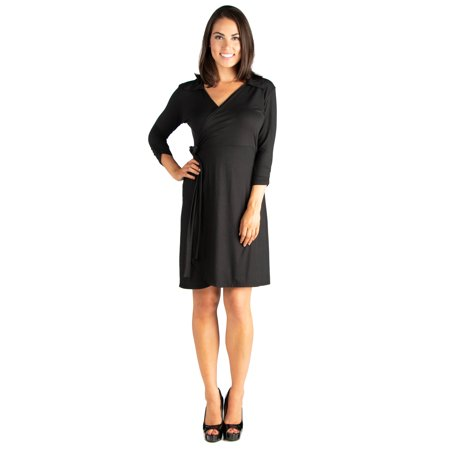 24seven Comfort Apparel Collared V-Neck Three Quarter Sleeve Wrap Dress