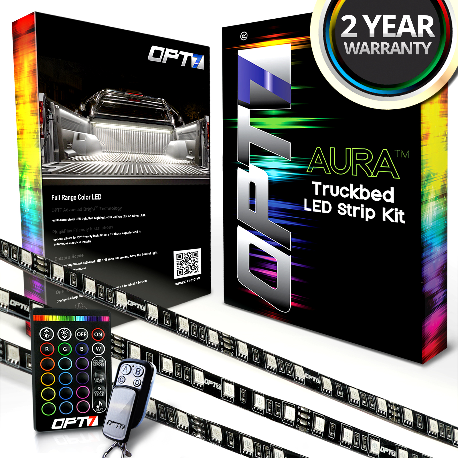 AURA 3pc Truck Bed FULL COVERAGE LED Lighting Strip Kit w/Sound-Activated Multi-Color Lights, Wireless Remote, OE-Style Rocker Switch, AUTO-ON Tailgate Pin Switch, and 2 Year Warranty