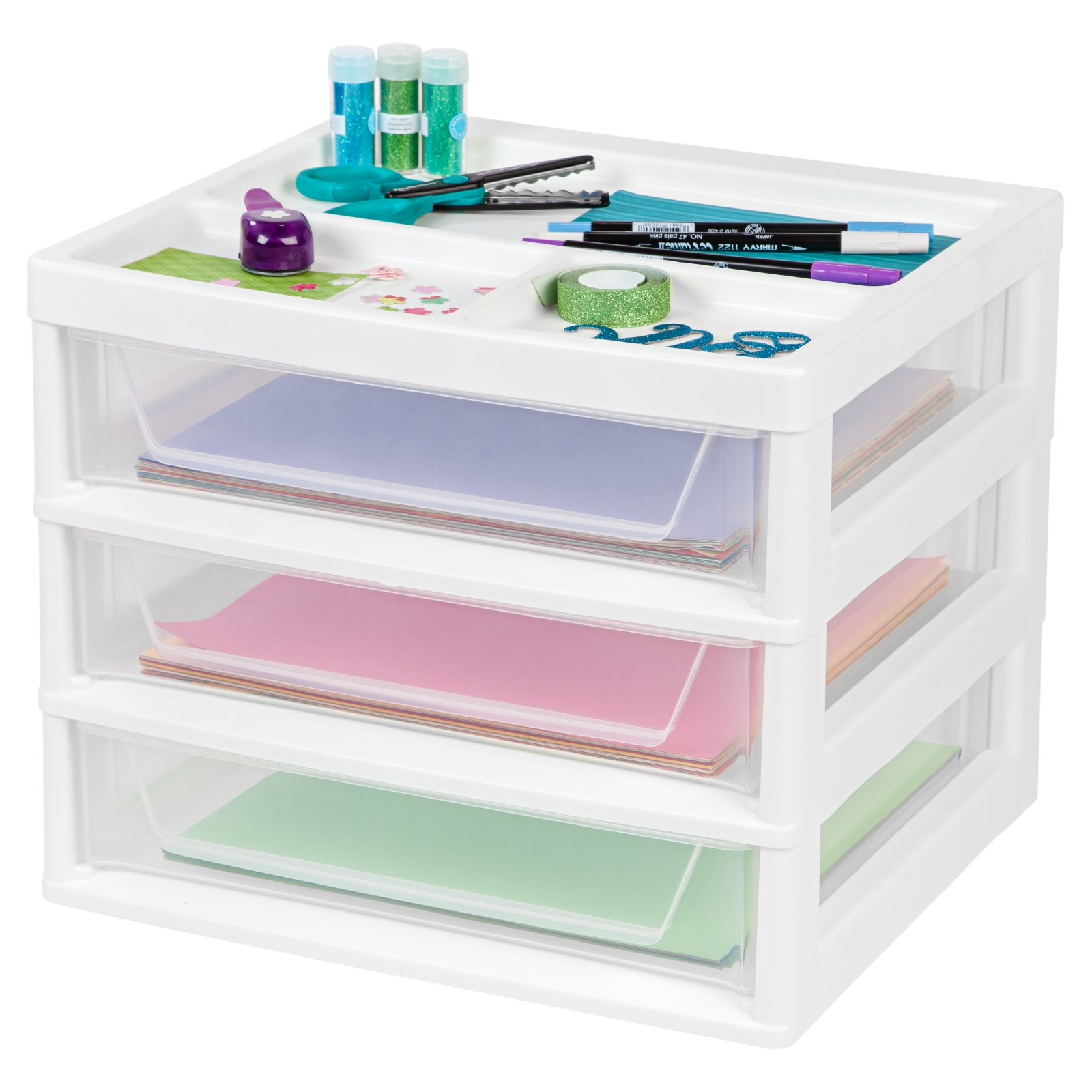 IRIS 3-Drawer Scrapbook Table Storage Chest, White