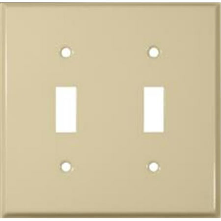 Morris Products 83022 Stainless Steel Metal Wall Plates 2 Gang Toggle Switch White - image 1 of 1