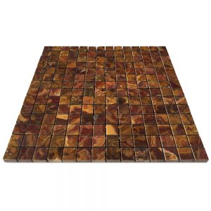 "Multi-Red Onyx Mosaic Tile 3/4"" X 3/4"""