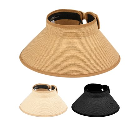 4040dcfd Angela & William - Women Wide Brim Roll-Up Sun Visor Beach Straw Hat 50  UPF-UV - Walmart.com