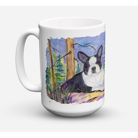 Boston Terrier Dishwasher Safe Microwavable Ceramic Coffee Mug 15 ounce SS8638CM15