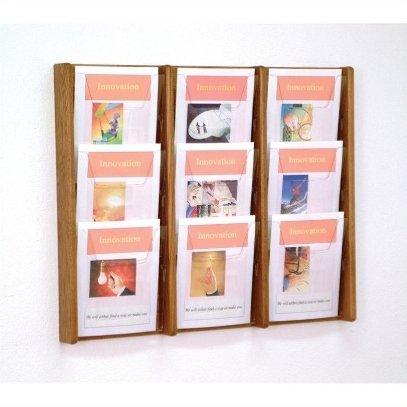 Wooden Mallet 9 Pocket Acrylic and Oak Wall Display in Medium Oak