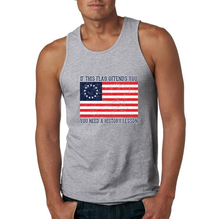 Image of If this Flag Offends You Need a History Lesson Betsy Ross USA American Flag 13 Stars Colonies Mens Political Graphic Tank Top