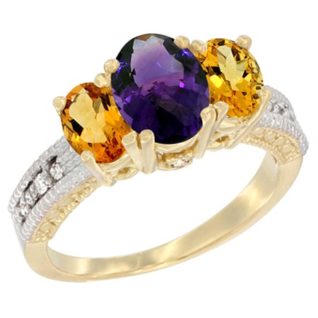 14K Yellow Gold Diamond Natural Amethyst Ring Oval 3-stone with Citrine, sizes 5 - 10