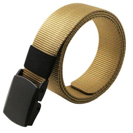 Men Adjustable Canvas Long Weave Slider Buckle Military Style Web Belt