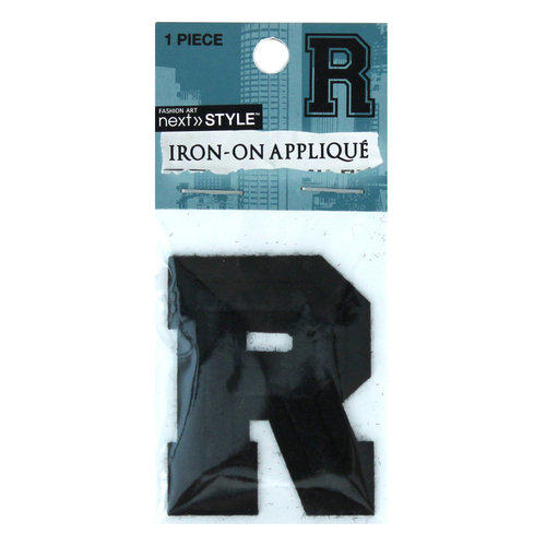 """Next Style Single Embroidery Letter, """"R"""", Black"""