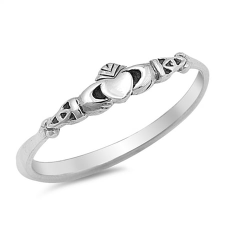 Sterling Silver Celtic Claddagh Band (Claddagh Heart Celtic Beautiful Ring ( Sizes 2 3 4 5 6 7 8 9 10 ) New .925 Sterling Silver Band Rings by Sac Silver (Size 8))