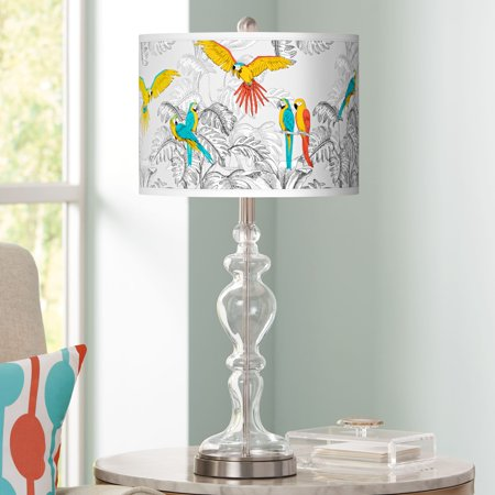 Giclee Glow Macaw Jungle Giclee Apothecary Clear Glass Table Lamp