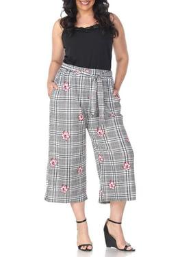 White Mark Women's Plus Size Gaucho Pants