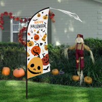 """Halloween Yard Decorations, 7'4"""" Large Feather Flag Swooper Flag with Pole Kit, Ghost Pumpkin Garden Flag, Halloween Trick or Treat Party Outdoor Decoration"""