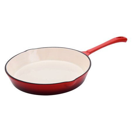 Hamilton Beach 10 Inch Enameled Coated Solid Cast Iron Frying Pan Skillet, Red - Enamel Coated Cast