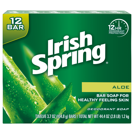 Irish Spring Aloe Vera Bar Soap, 3.7 Ounce, 12 Bar