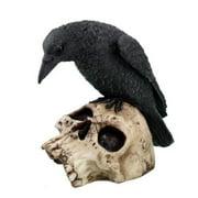 5 Inch Halloween Black Raven on Skeleton Skull Statue Figurine