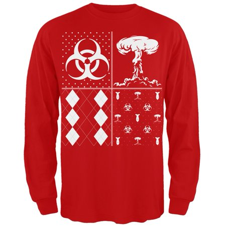 Biohazard Festive Blocks Ugly Christmas Sweater Red Adult Long Sleeve T-Shirt](Red Ugly Christmas Sweater)