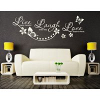 Live Every Moment, Laugh Every Day, Love Beyond Words Wall Decal - wall decal, sticker, mural home decor, floral quotes & sayings - 2725 - White, 24in x 8in