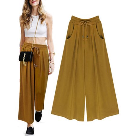 Elastic Waist Woven Knit Pants (Womens Wide Leg High Elastic Waist Casual Cropped Pants Loose Palazzo Trousers)
