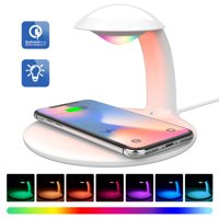 LUXMO Wireless Charger & Dimmable Night Light 10W Fast Wireless Charging Station with Colorful Bedside LED Mood Lamp, Qi Wireless Charging Pad for iPhone XS/XR/X/8/8 Plus, Samsung Galaxy S9/S8+/S7/S6