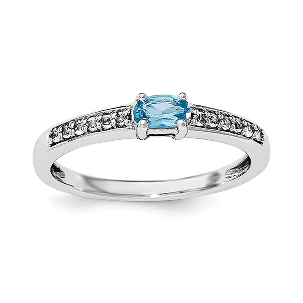 Sterling Silver Blue Topaz and White Topaz Ring Ring Size: 6 to 8 by Jewelryweb