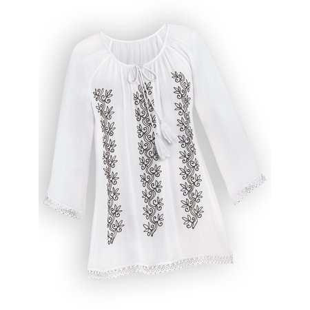 Women's Floral Embroidered Keyhole Tunic Top / Tie Front Tassels, X-Large, White