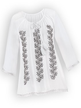 1654202b1c0 Product Image Women s Floral Embroidered Keyhole Tunic Top   Tie Front  Tassels