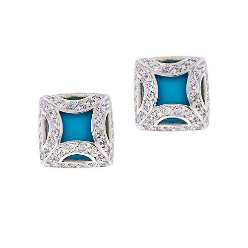 CZ Collections Fancy Frame Simulated Turquoise Square Stud Earrings