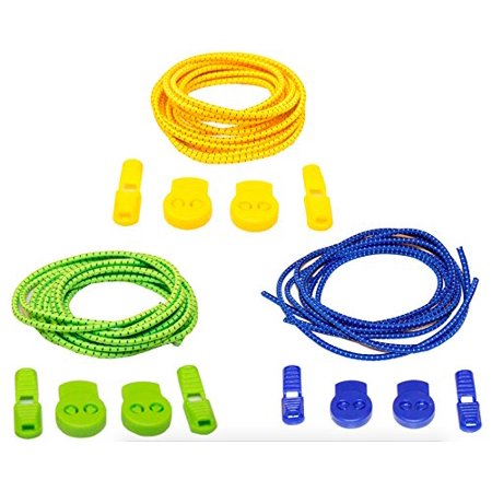 No Tie Stretch Shoelace 3-Pack - Save Time On Tying Shoes, Boots, Sneakers, Loafers - Ideal Athletic & Office Comfort (With Easy Lock, Blue, Green & Yellow) - Clip On Shoe Laces