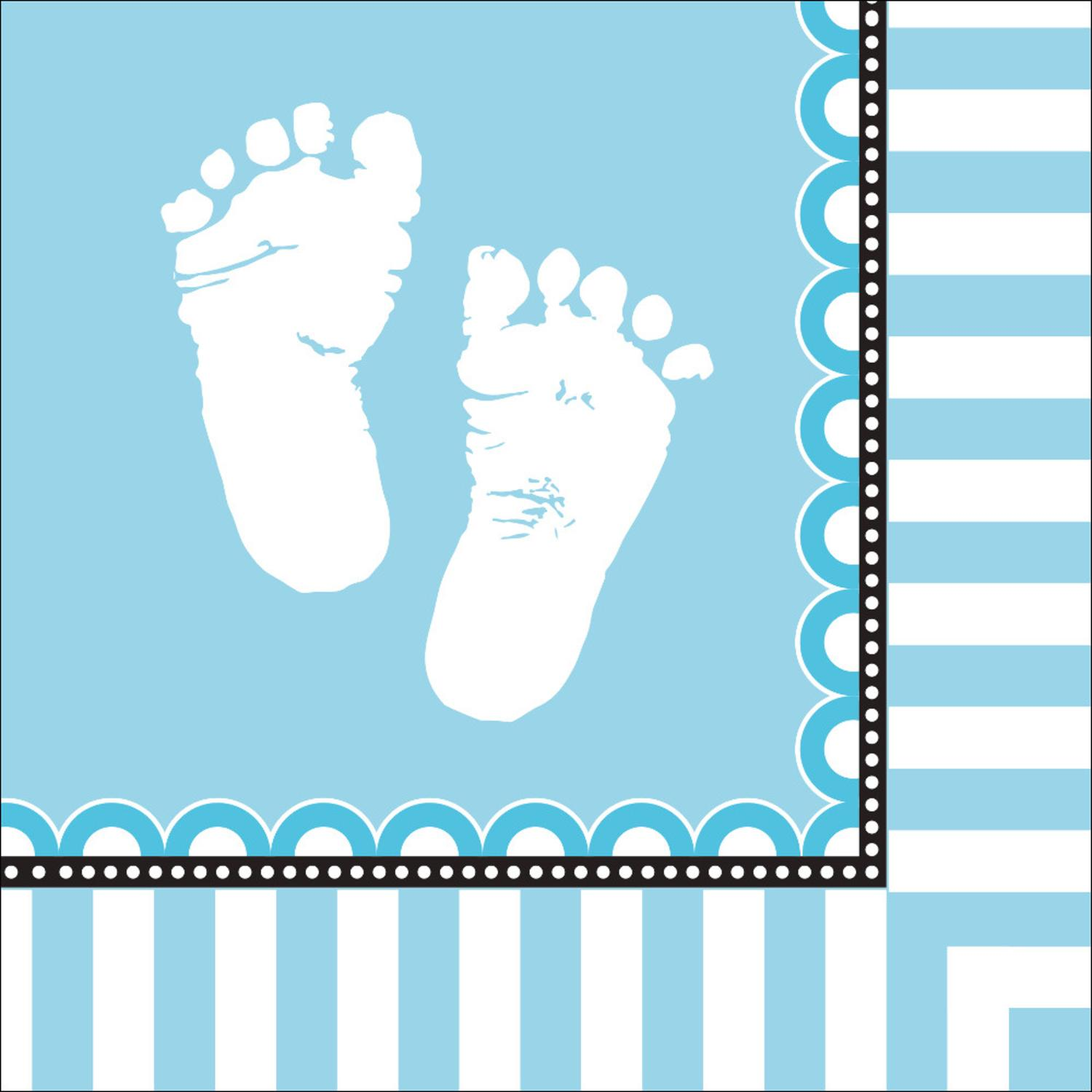 Club Pack of 192 Sweet Baby Feet - Blue Premium 3-Ply Disposable Lunch Napkins 6.5""