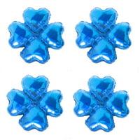 Unique Bargains Celebration Foil Four Leaf Clover Design Inflation Balloon Blue 18 Inches 4pcs