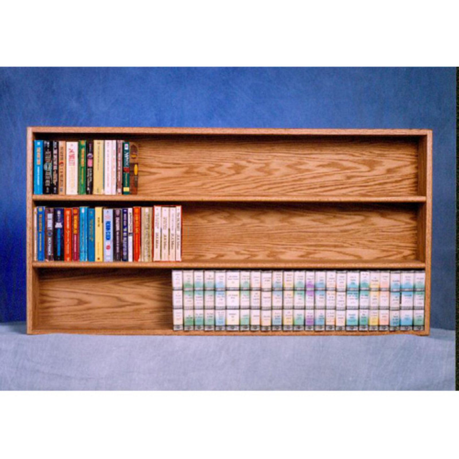 The Wood Shed Solid Oak 3 Row Wall / Shelf Mount DVD / VHS Tape / Bookcase
