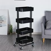 Walsport Heavy Duty Rubbermaid Mobile Storage Organizer 4-Tier Metal Mesh Rolling Utility Trolley Cart for Kitchen&Bathroom, Black
