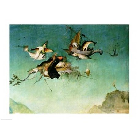 Temptation of St.Anthony Detail of Left Hand Panel Poster Print by Hieronymus Bosch - 36 x 24 in. - Large Left Hand Panel