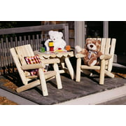 Kid's Rustic Log Style Round Table w 2 Chairs - 3 Pc Set (36 in.)
