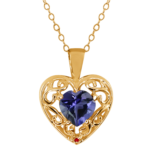 0.59 Ct Heart Shape Blue Iolite Red Garnet Gold Plated Sterling Silver Pendant