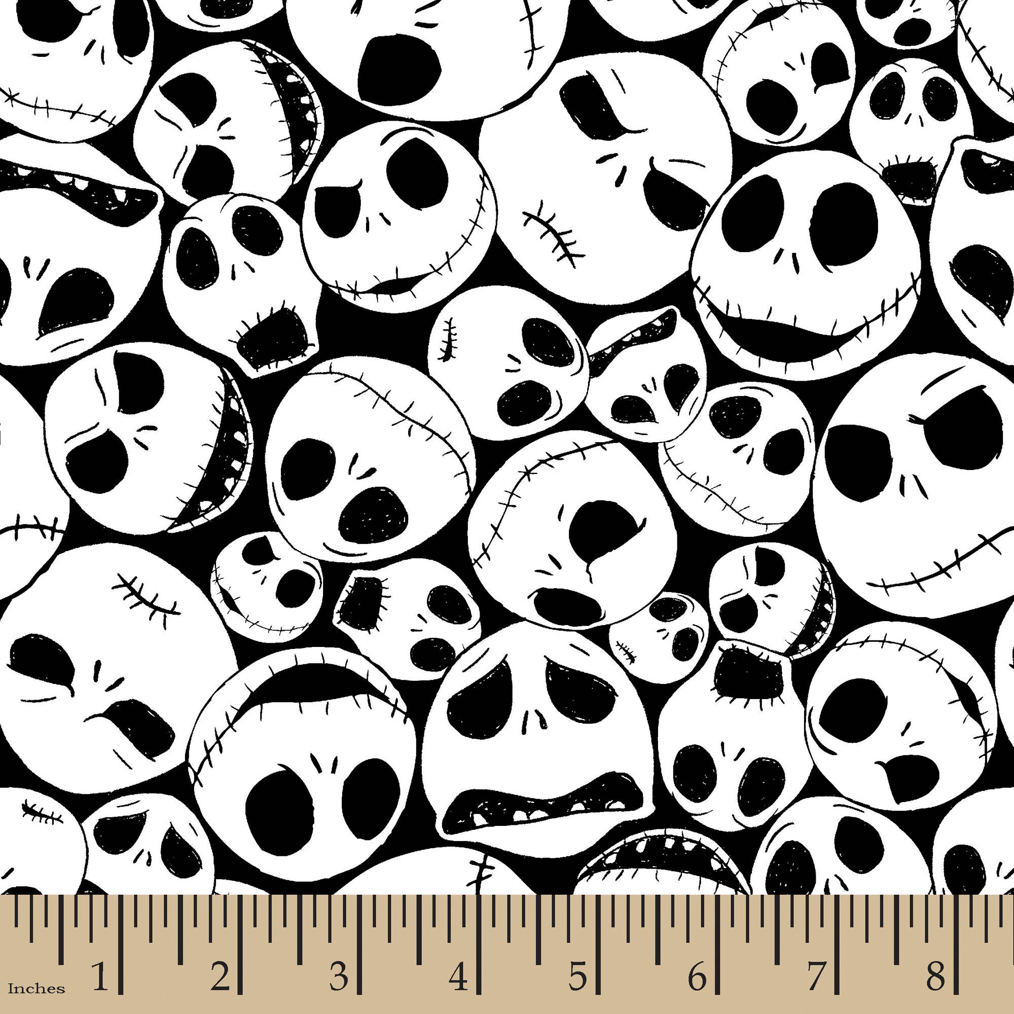 """Disney Halloween Packed Jack, Black, 100 Percent Cotton, 43/44""""W, Fabric by the Yard"""