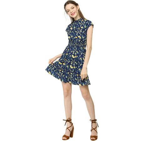 Women's Floral Cap Sleeve Smock Waist Skater Dress Blue L (US 14) - image 2 of 6