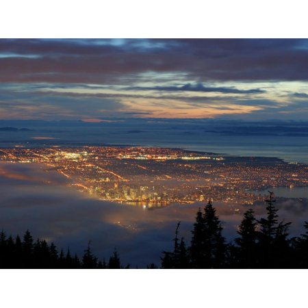 City from Grouse Mountain at Sunset, North Vancouver, Vancouver, Canada Print Wall Art By Lawrence Worcester - Halloween North Vancouver
