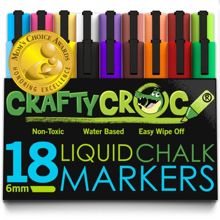 crafty croc wet erase liquid chalk markers jumbo pack of 18 bright neon and earth