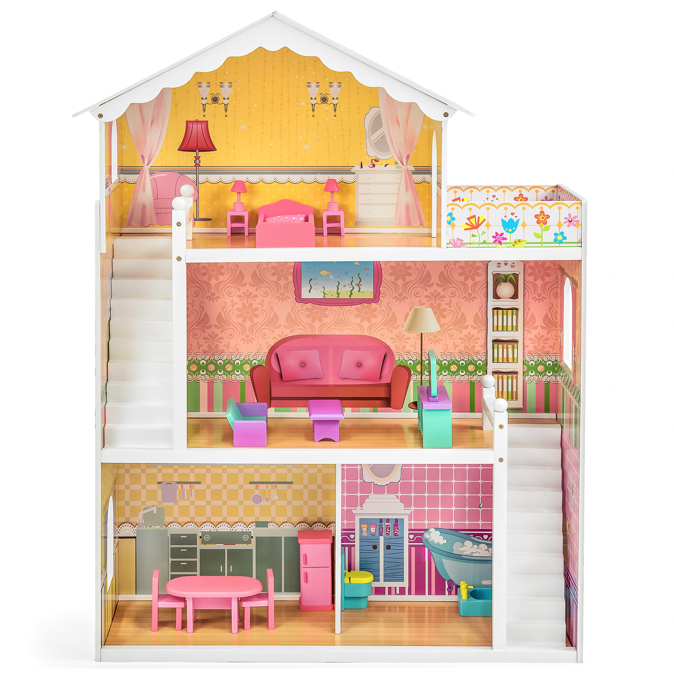 wooden barbie dollhouse furniture. Best Choice Products Large Childrens Wooden Dollhouse Fits Barbie Doll House Pink With 17 Pieces Of Furniture T