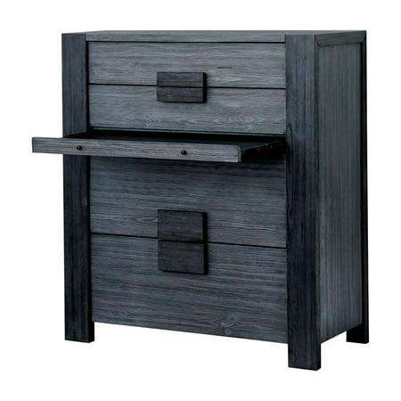Furniture of America Elbert Rustic Wood 4-Drawer Chest in Gray