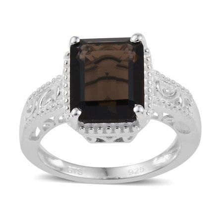 Solitaire Ring 925 Sterling Silver Octagon Smoky Quartz Ct 2.5