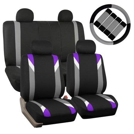 FH Group Car Seat Covers Premium Modernistic for Sedan, SUV, Van, Full Set w/ Steering Cover & Belt Pads, Purple