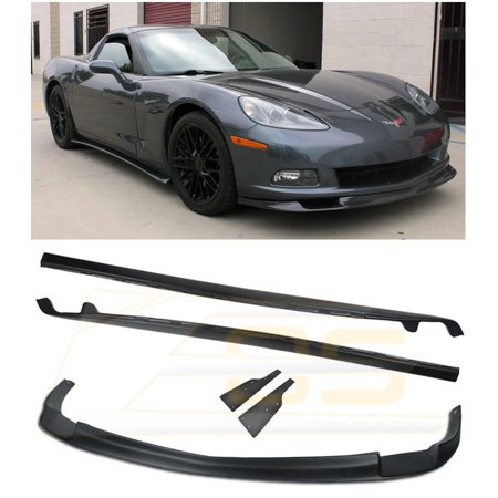 Replacement For 2005-2013 Chevrolet Corvette C6 Base Models | EOS ZR1 Style ABS Plastic PRIMER BLACK Front Bumper Lower Lip Splitter With Side Skirt Panels Mud Flaps Pair