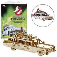 """IncrediBuilds Ghostbusters: Ectomobile Book and 3D Wood Model Figure Kit - Build, Paint and Collect Your Own Wooden Model - Great for Kids and Adults,12+ - 6"""""""