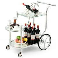 Gymax Serving Cart Kitchen Bar Wine Tea Cart Glass Shelves & Metal Frame with Wheels