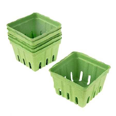 Green Paper Berry Baskets: 3.5 x 3.5 inches, 6